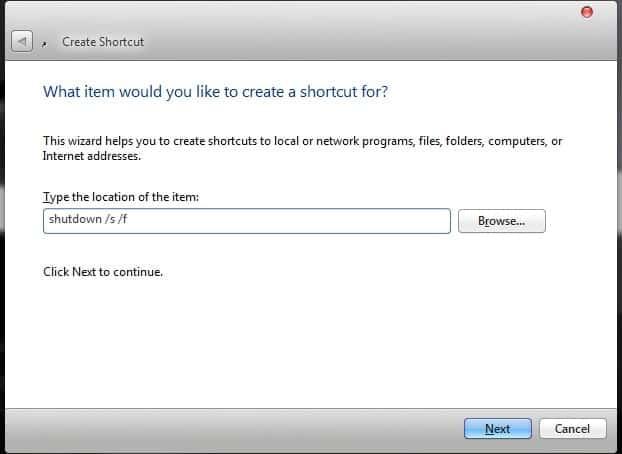 Run a Command Prompt command from Desktop Shortcut enter command