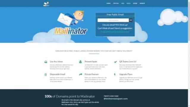 Mailinator Website Screenshot