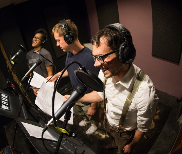 Clarence Ling Left Jon Baker And Karl Smith Rehearse A Script For The Bootleggers At The Wrur Studios In Todd Union Photo By J Adam Fenster