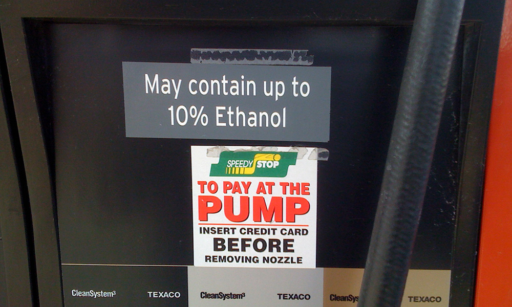 gas pump says MAY CONTAIN 10% ETHANOL