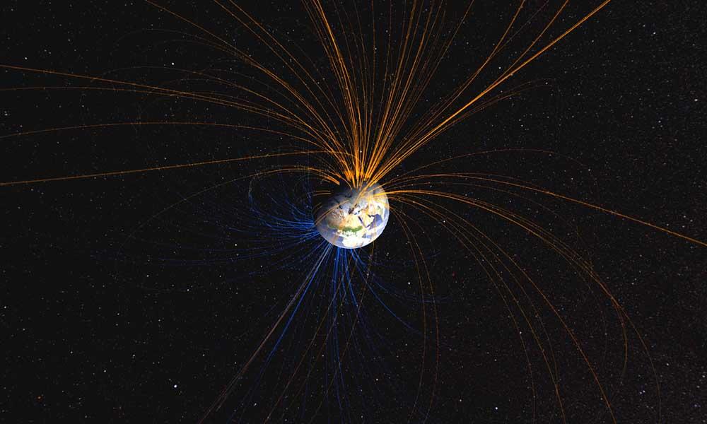O campo magnético da Terra conecta o Pólo Norte com o Pólo Sul nesta imagem criada pela NASA.