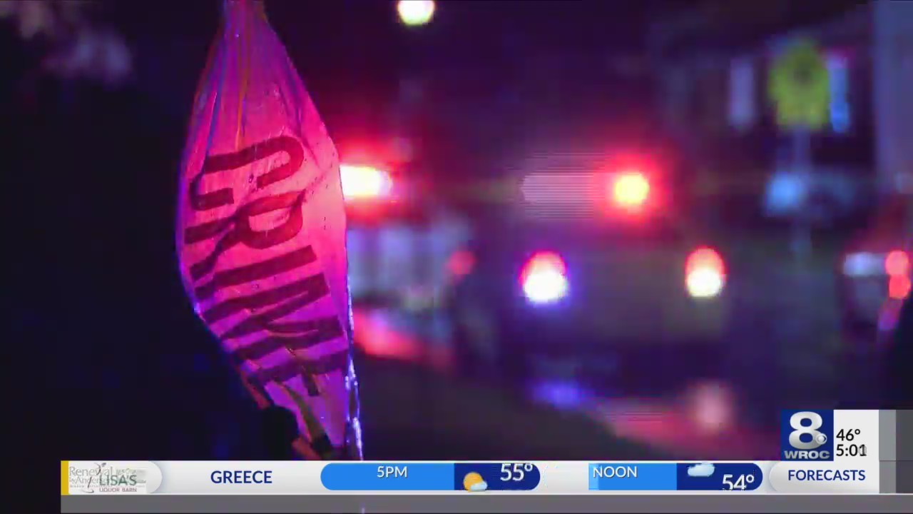 Stabbing in Rochester on Avenue A, two men involved in fight. Police lights
