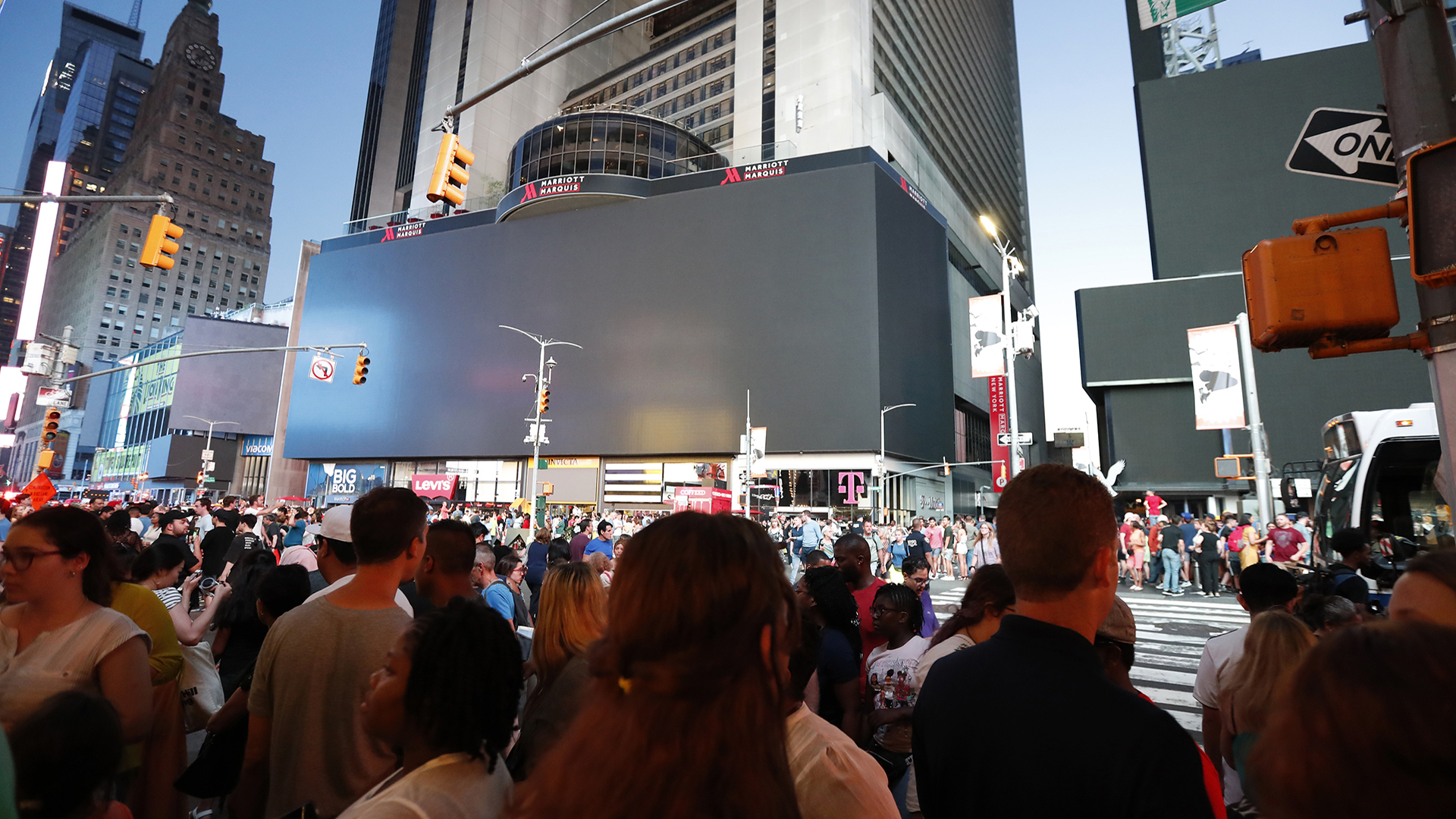 Police: Motorcycle backfiring causes panic in Times Square