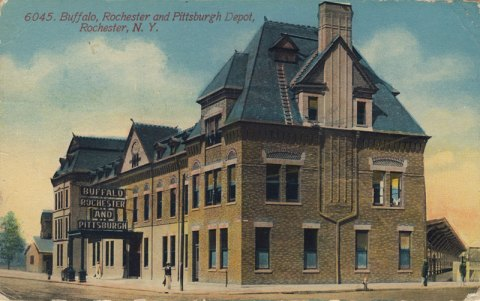 Buffalo Rochester & Pittsburgh Depot. (looking from Main and W. Broad Streets). This is now home of Nick Tahou's Hots.