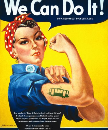 Don't confuse her with Rosie the Riveter. The model for this WWII poster is actually Geraldine Doyle. We're borrowing this powerful illustration from Howard J. Miller to help us Reconnect Rochester.