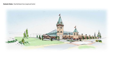 Perspective view of facility looking northeast from corner of Clinton and Central Avenues.