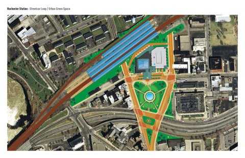 Plan view of facility and surroundings. Tracks shown at top. Inner Loop at bottom.