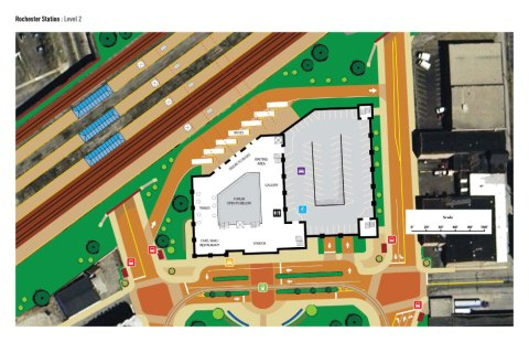 Plan view of facility (2nd level), Amtrak platforms, and Geyhound/Trailways platform.