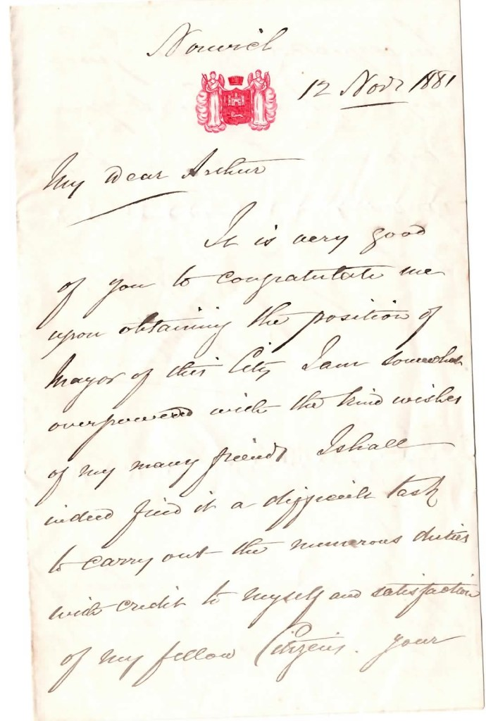 Arthur Hunter was Mayor of Norwich between 1881 and 1882. This letter was to congratulate him on the position. http://www.origins.org.uk/genuki/NFK/places/n/norwich/mayors_and_sheriffs.shtml