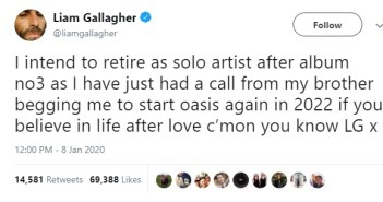 liam gallagher tweet oasis