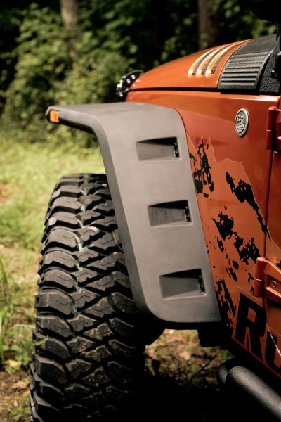 Rugged Ridge Hurricane Fender Flare - installed rear view (High Res)