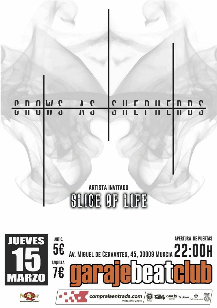 Cartel del concierto de Crows as Shepherds y Slice of Life