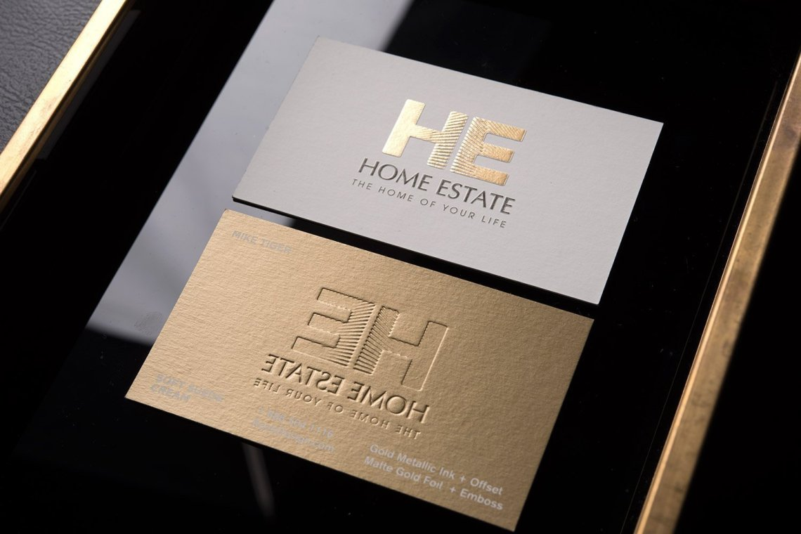 Creative luxury real estate agent business card with gold ...