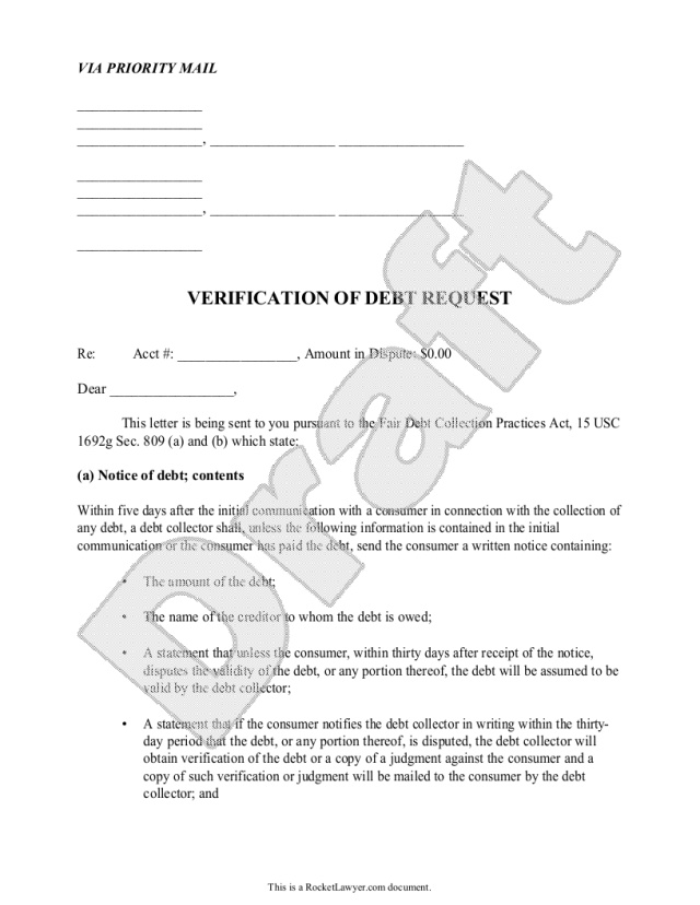 Free Debt Validation Letter  Free to Print, Save & Download