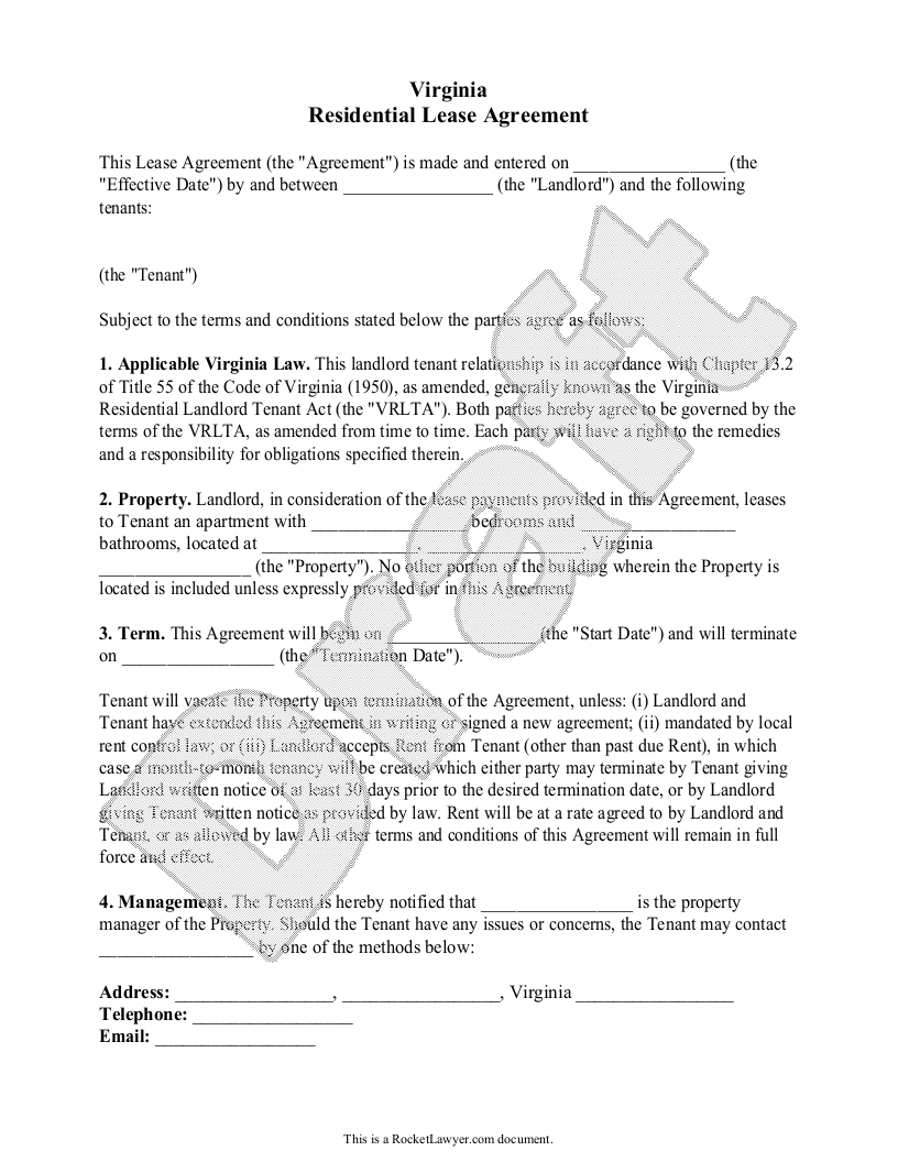 The parties (1) date when the agreement was written; Free Virginia Lease Agreement Free To Print Save Download