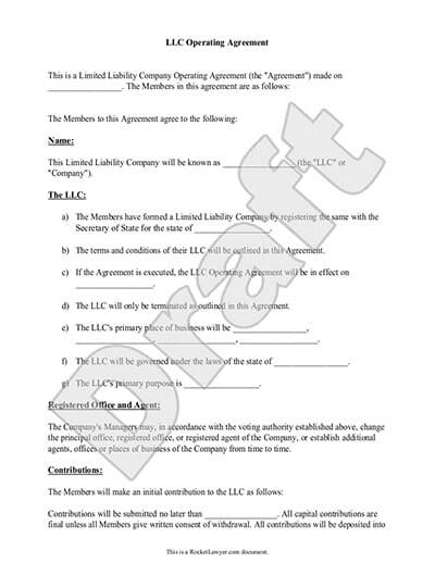 In this document, identifying details of the llc, as well as the llc members, will be entered, such as names and addresses. Free Llc Operating Agreement Free To Print Save Download