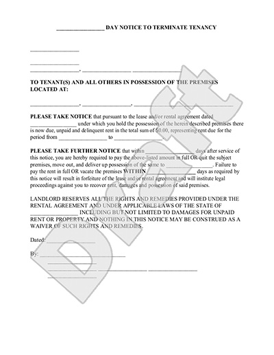 30 day notice to vacate apartment