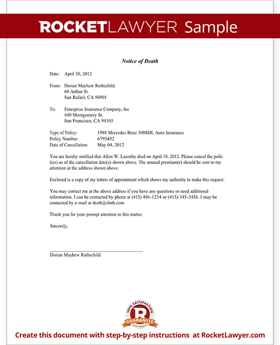 Sample Notification Letter To Insurance Company For Claim
