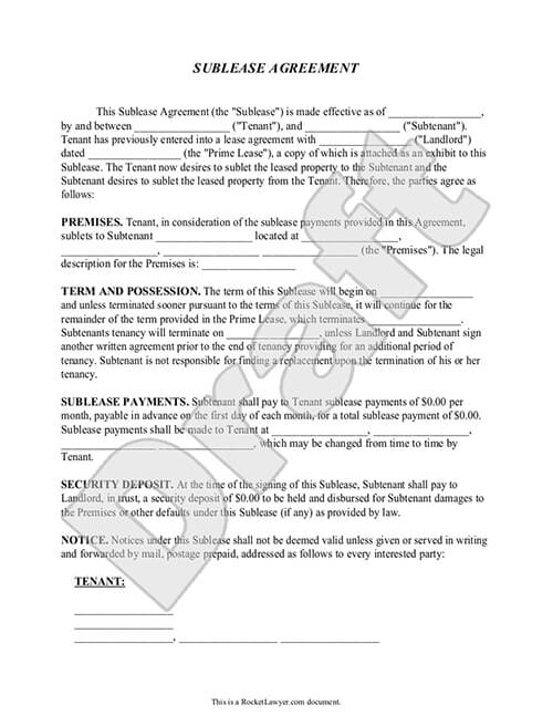 Sample Sublease Agreement Doent Preview