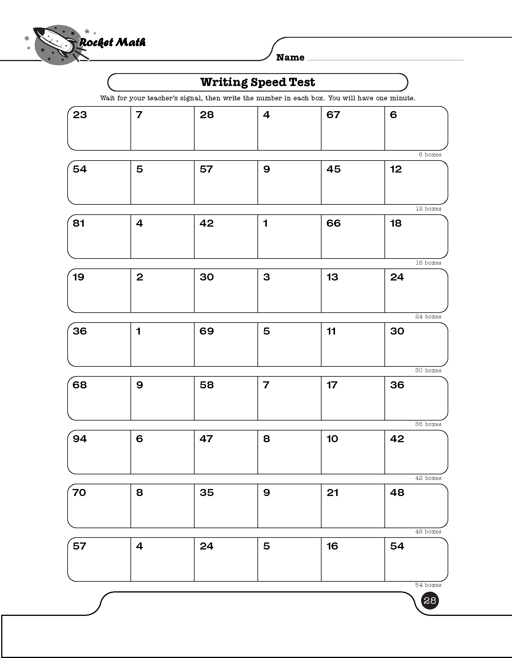 Rocket Math Worksheets Copies rocket math worksheets copies due – Speed Math Worksheets