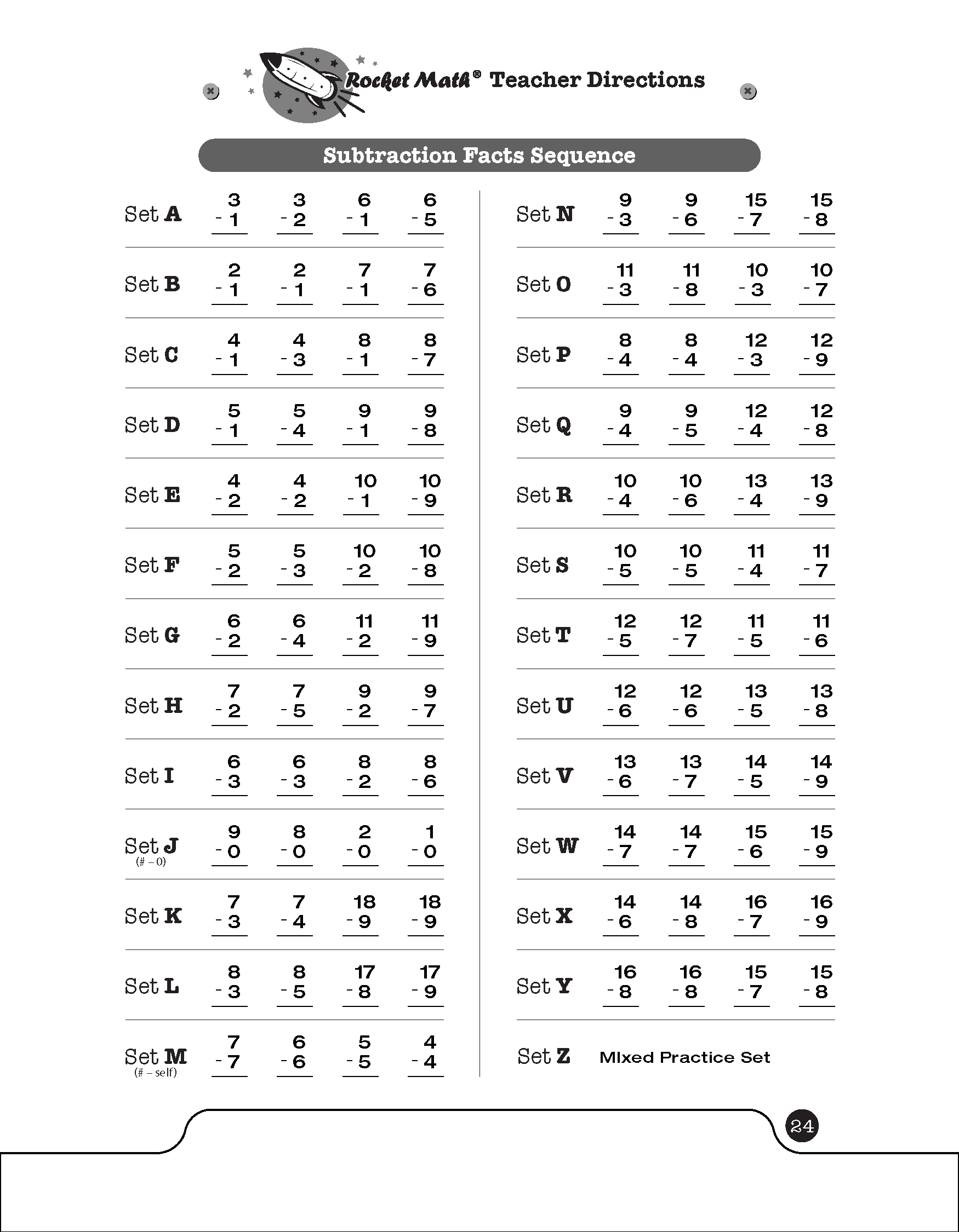 Subtraction 1s Through 9s Basic