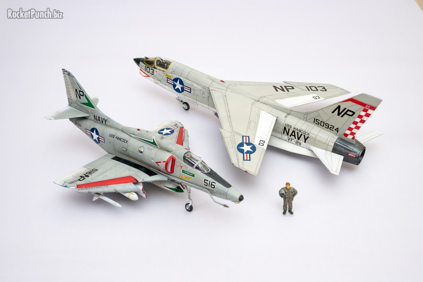 With sister squadron VF-211 although the F-8E wears markings from 1968