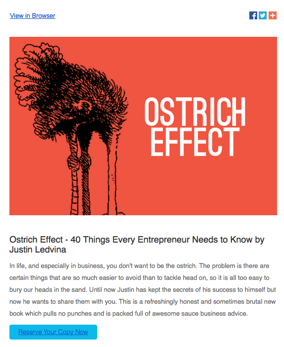 Ostrich effect email screenshot