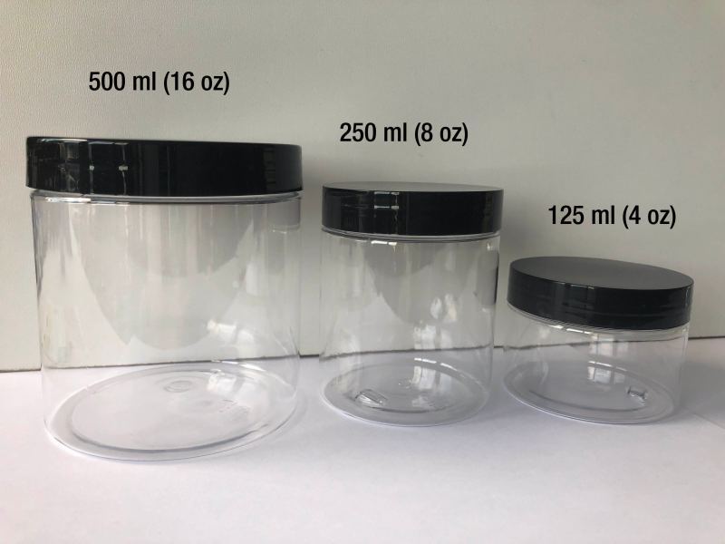 Plastic Jars sizes