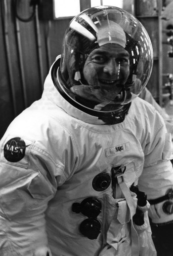 Ron Evans suited for a Command Module altitude chamber test on July 31, 1972. Credit: NASA
