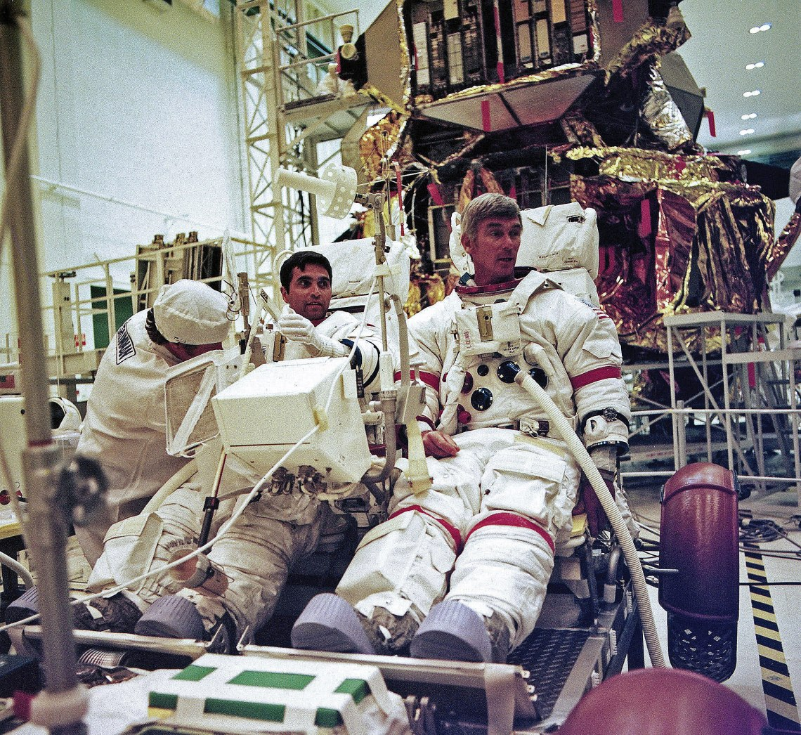 Harrison Schmitt and Gene Cernan participate in a check out of the lunar roving vehicle and all its systems at Kennedy Space Center. Credit: NASA via J.L. Pickering/Retro Space Images