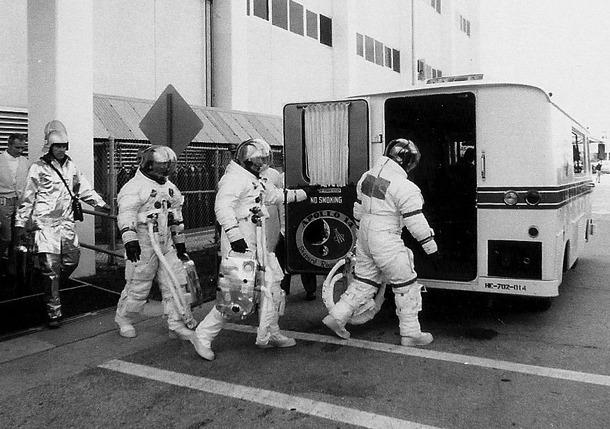 Boarding the Astrovan for launch of Apollo 14. Credit: Julian Leek
