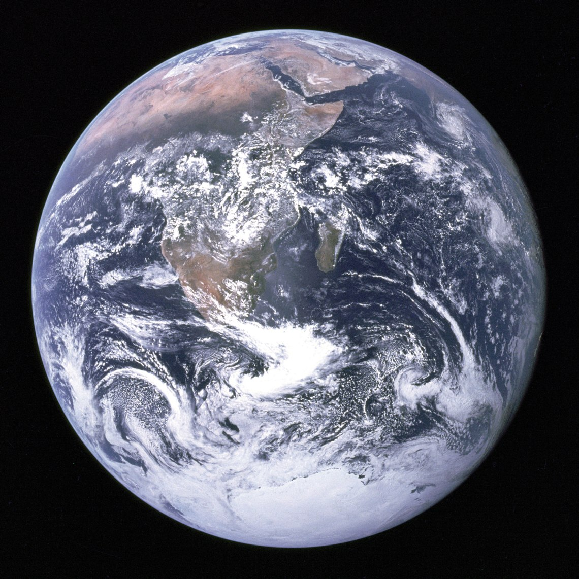 View of the Earth as seen by the Apollo 17 crew traveling toward the moon. This translunar coast photograph extends from the Meditierranean Sea to Antarctica. Credit: NASA