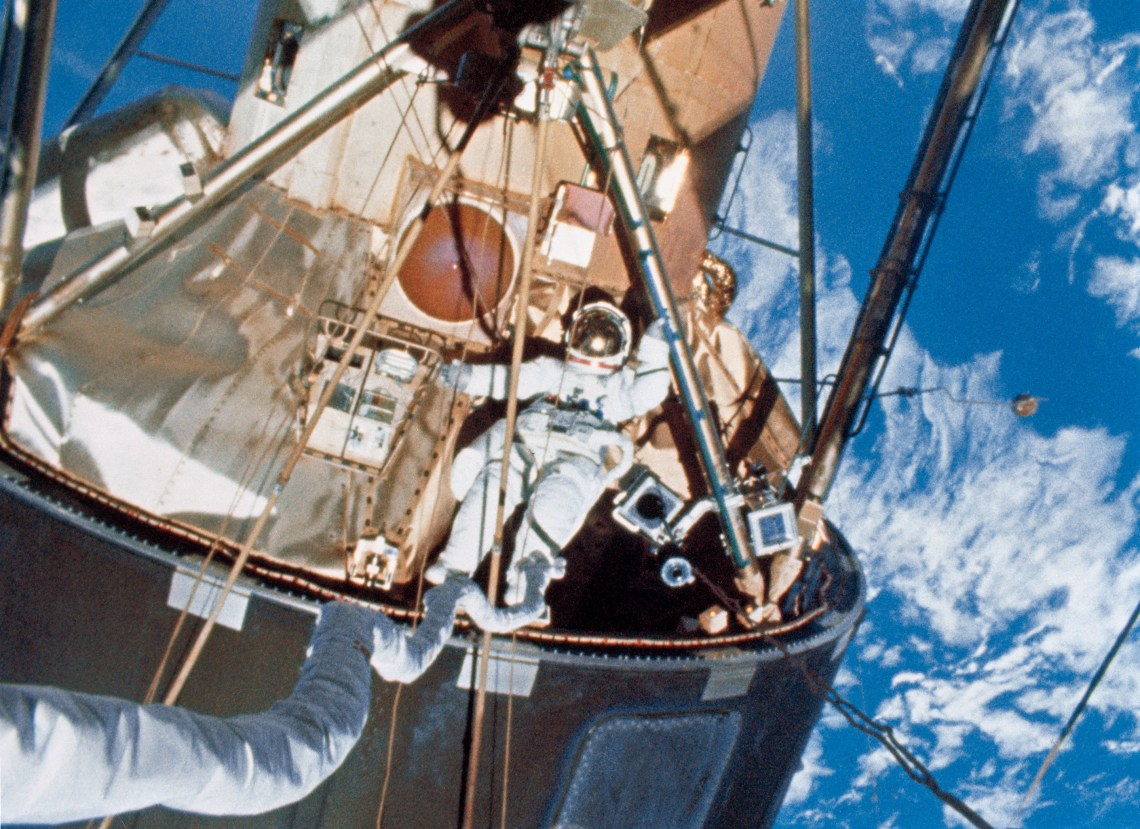 Scientist-astronaut Ed Gibson has just egressed the Skylab EVA hatchway during the final Skylab Extravehicular Activity EVA which took place on February 3, 1974.  Photo: NASA