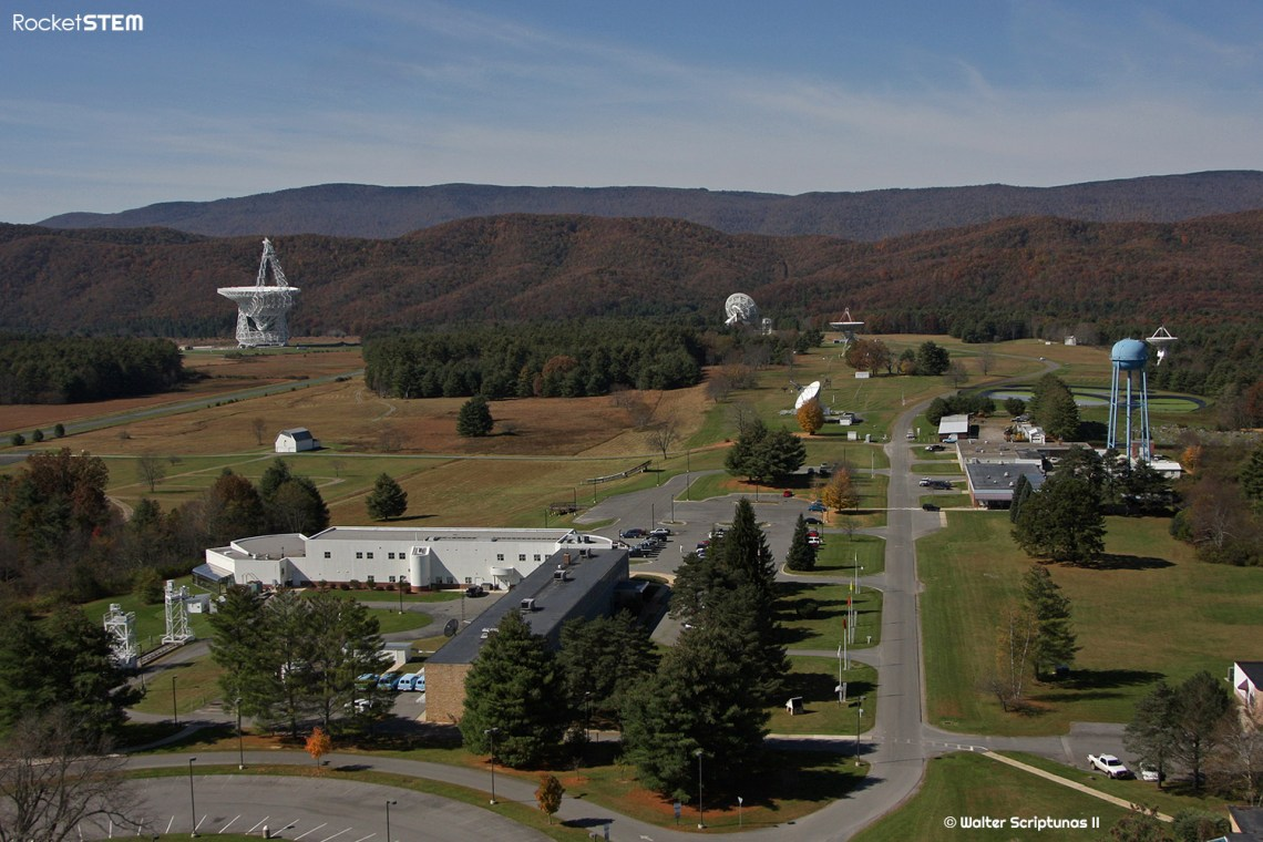 The Green Bank Telescope is the world's largest fully steerable radio telescope. Sitting within the heart of the National Radio Quiet Zone, The telescope focuses 2.3 acres of radio light on sensitive receivers at the top of the telescope. It is 485 feet tall which is nearly as tall as the nearby mountains. Photo: Walter Scriptunas II