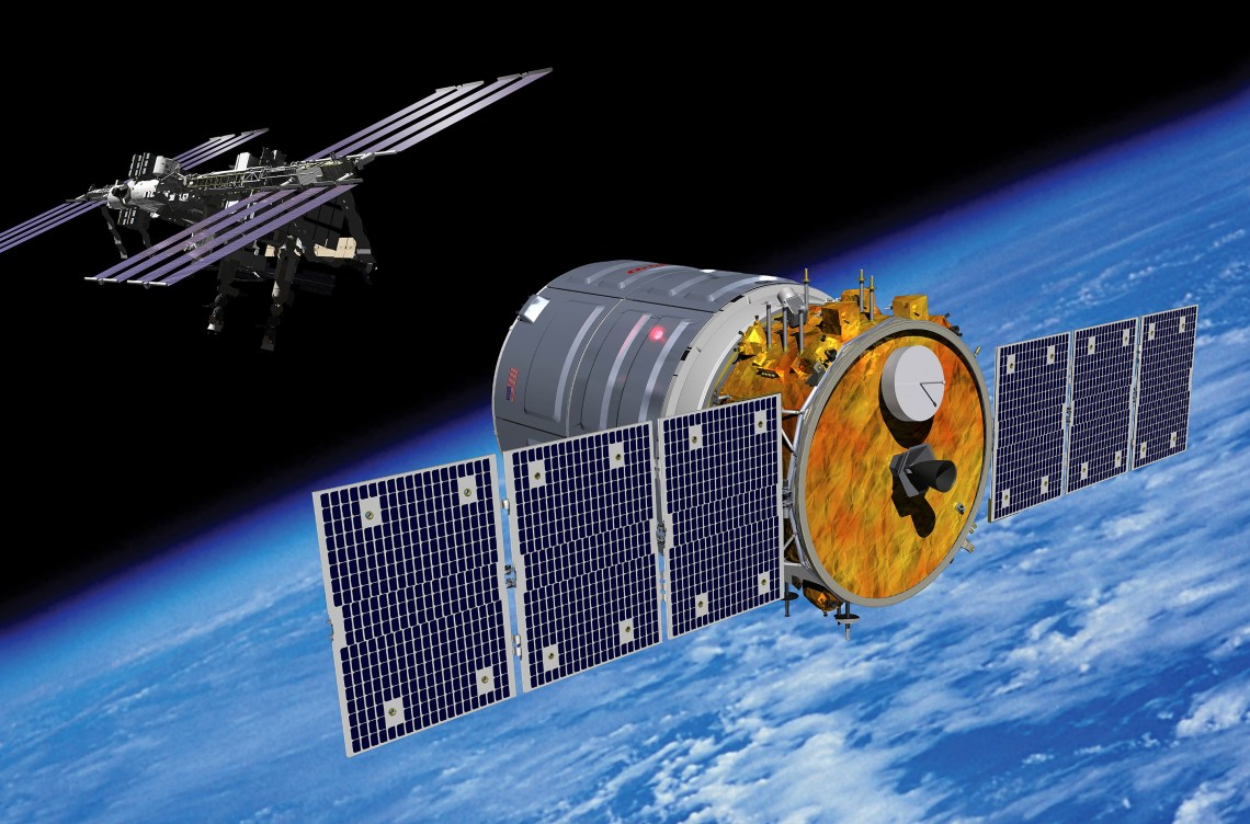 An artist rendering of the Cygnus spacecraft approaching the International Space Station. Credit: Orbital Sciences Corporation