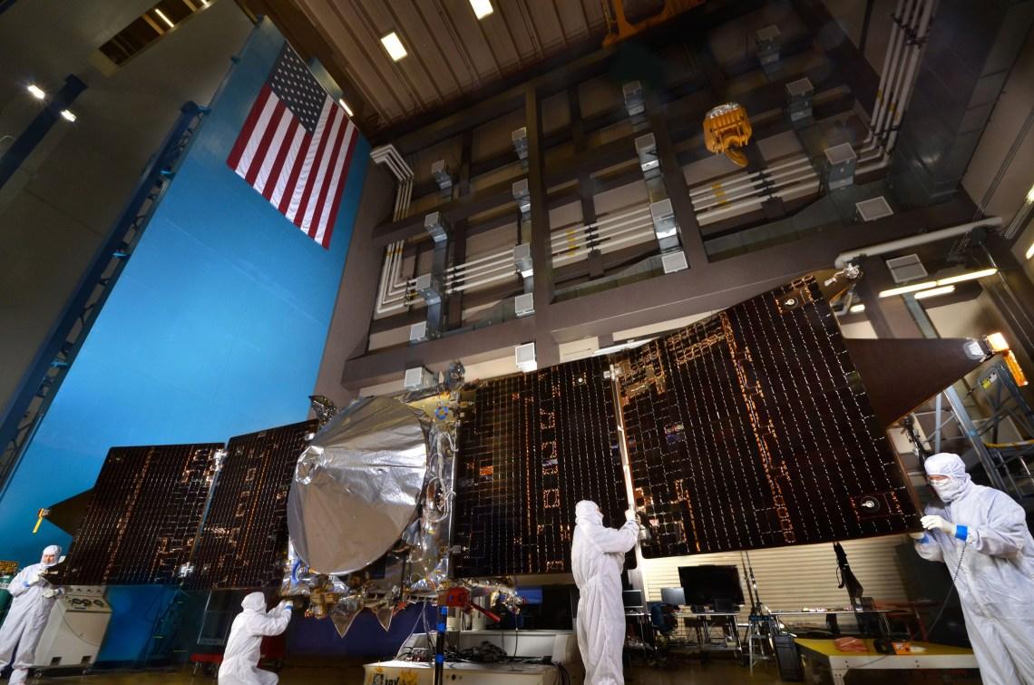 NASA's MAVEN Mars orbiter with both solar arrays fully deployed at Lockheed Martin's RAL facility near Denver.  Photo: Lockheed Martin