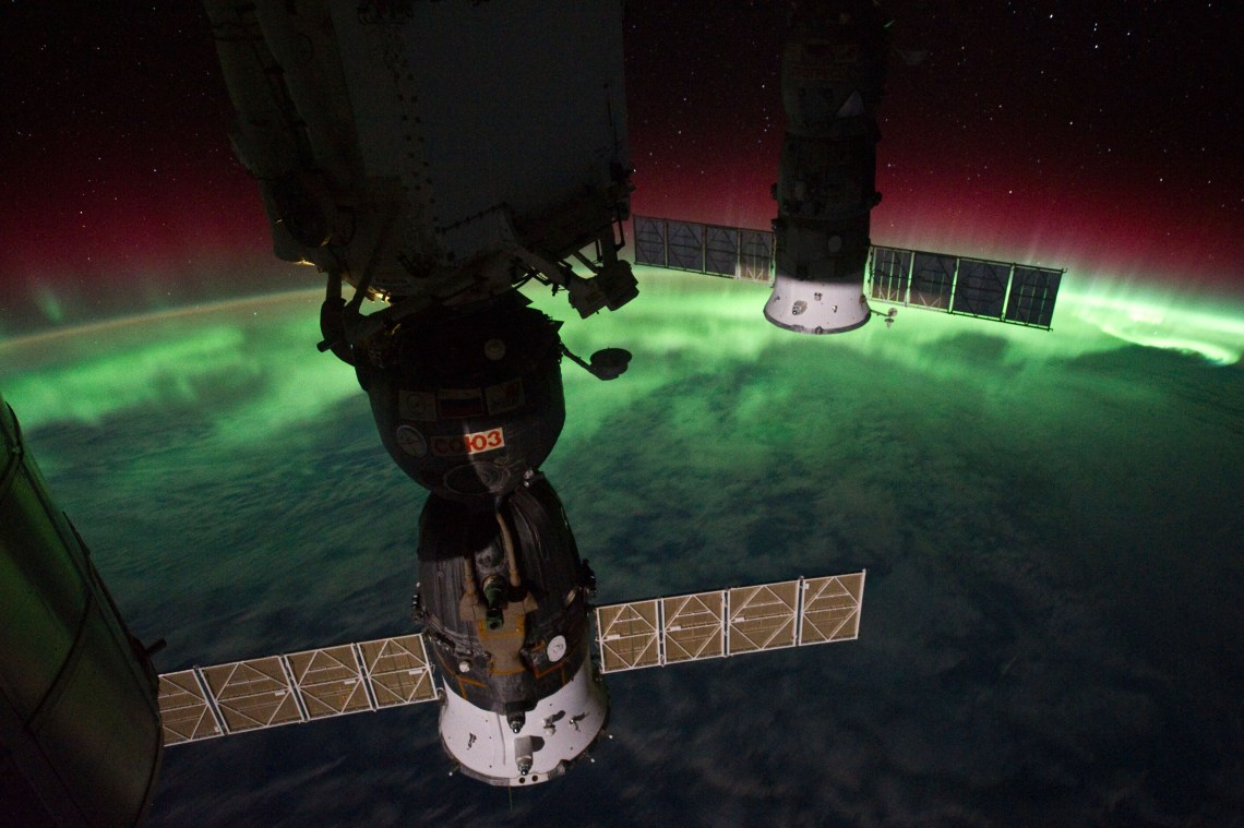 ISS-29_Soyuz_TMA-02M_and_Progress_M-10M_against_Aurora_Australis
