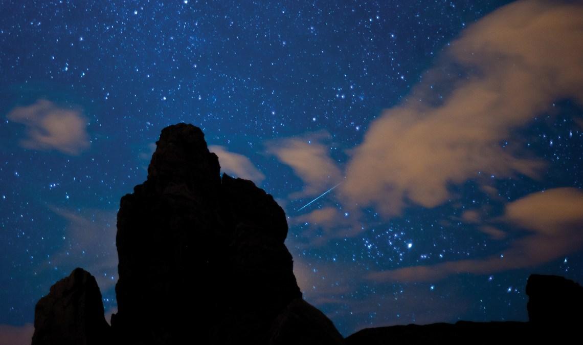 quadrantid meteor over teide park-