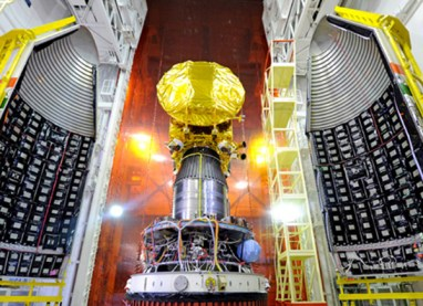 India's Mars Orbiter Mission spacecraft is attached to the fourth stage of PSLV-C25 and readied for heat shield closure. Credit: ISRO