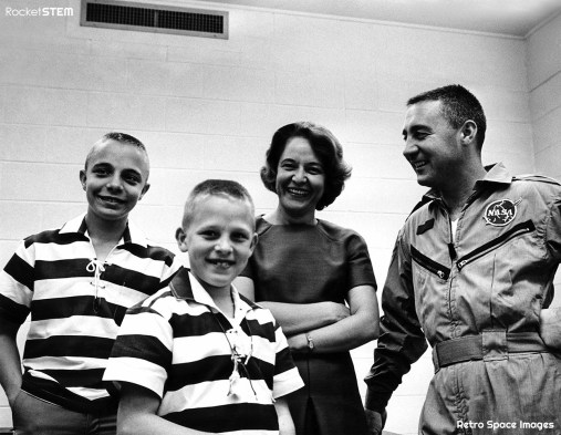 Gus Grisson meets his family back at Cape Canaveral after the GT-3 mission. Credit: NASA via Retro Space Images