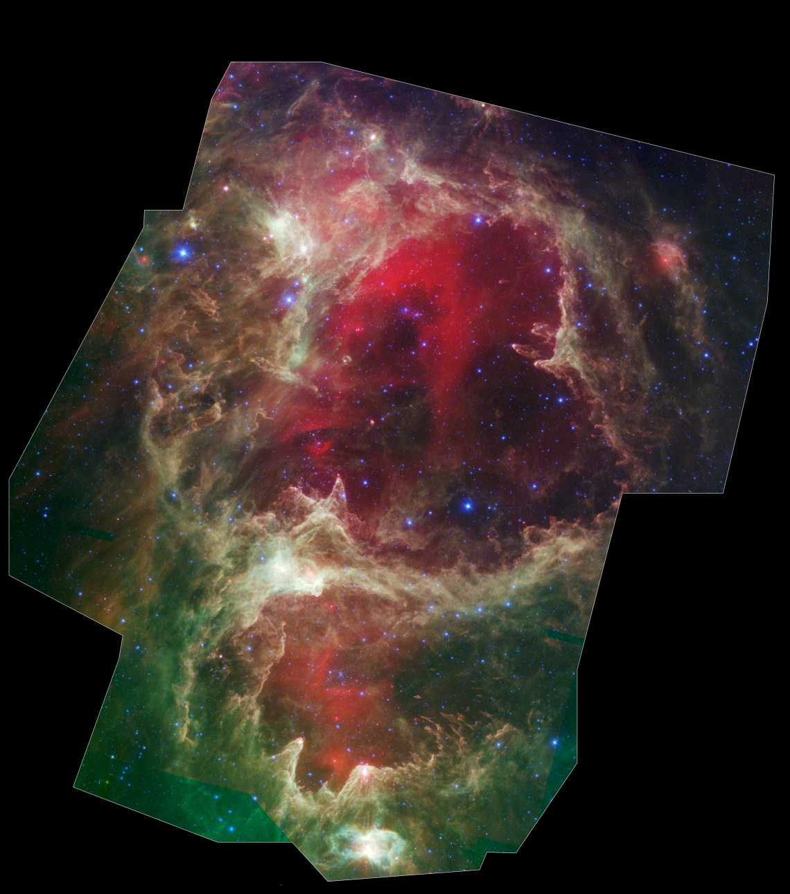 A Stellar Family Tree: Generations of stars can be seen in this view of a vast star-forming region dubbed W5. Massive stars at  the hearts of the cavities are thought to have blown away  surrounding material, triggering the birth of new stars. Credit: NASA/JPL-Caltech/Harvard-Smithsonian CfA