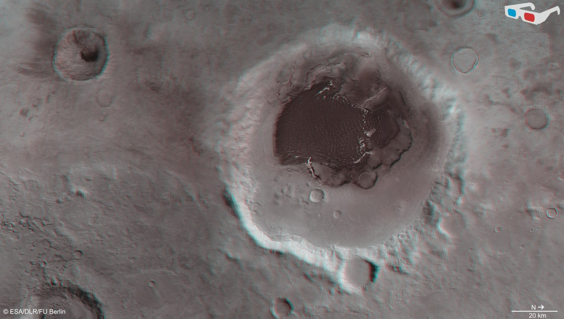 Data from the nadir channel and one stereo channel of the High Resolution Stereo Camera on Mars Express have been combined to produce this anaglyph 3D image, which can be viewed using stereoscopic glasses with red–green or red–blue filters.