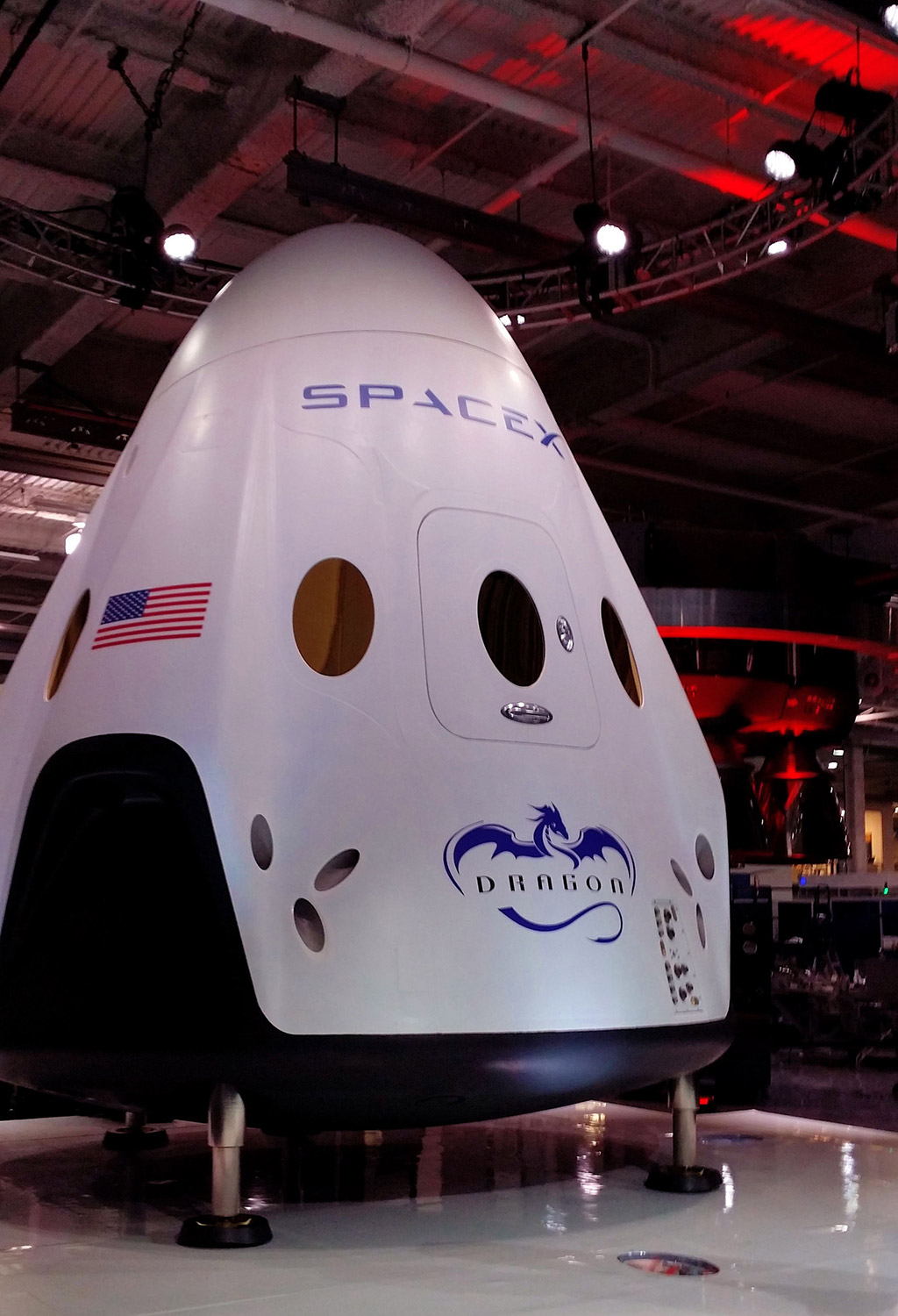 The Dragon V2 spacecraft. Credit: Mary Kanian