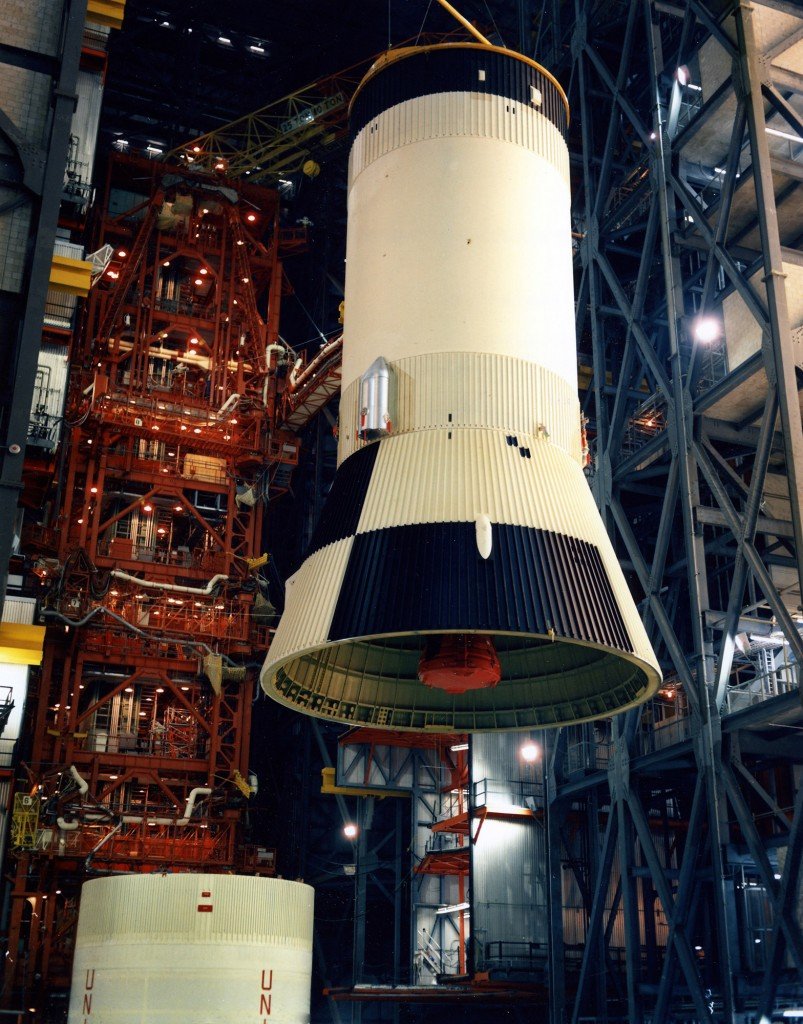 The S-IVB third stage is raised inside the VAB at KSC for mating to the second stage on March 21, 1969.