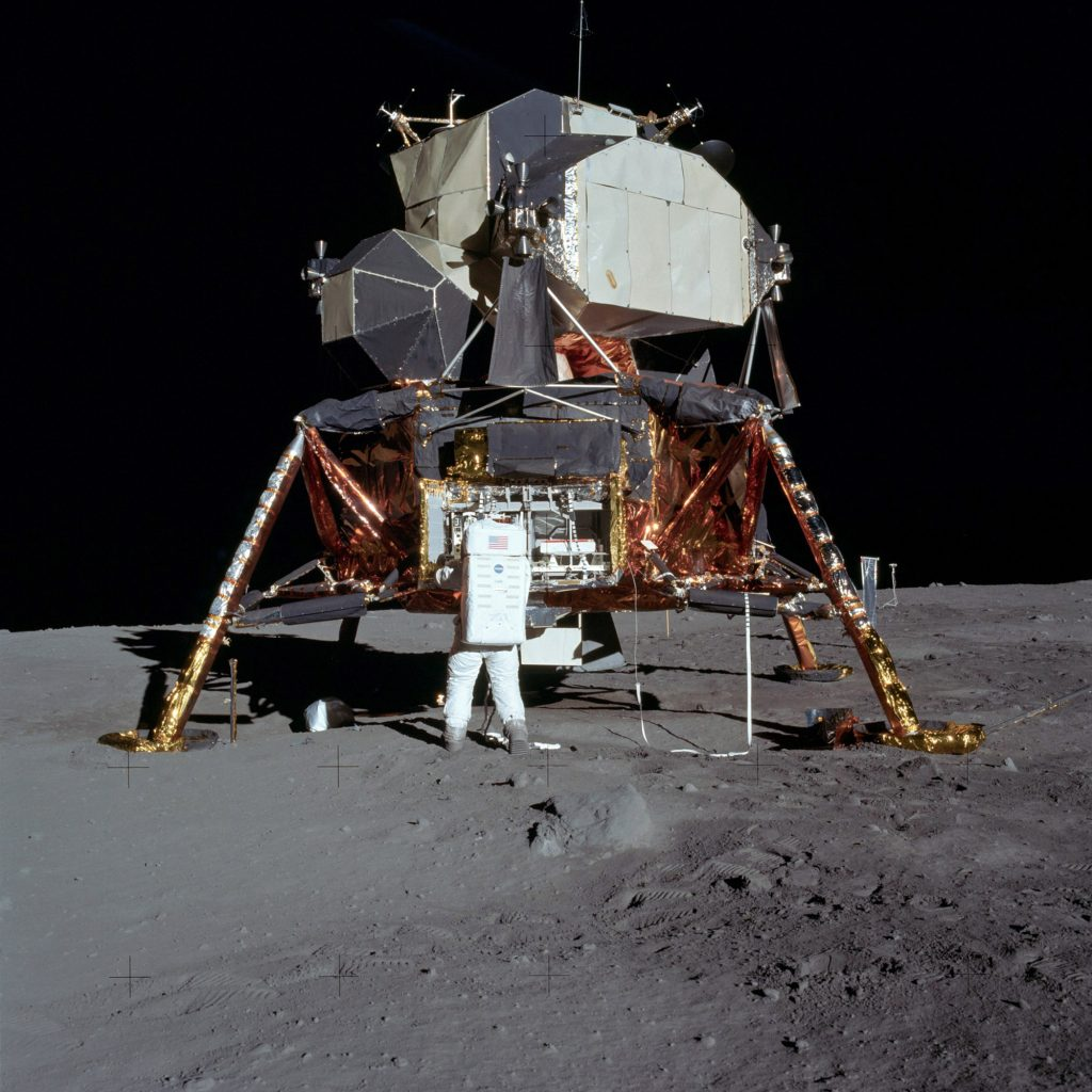 Edwin 'Buzz' Aldrin removes the EASEP experiment from the Lunar Module.