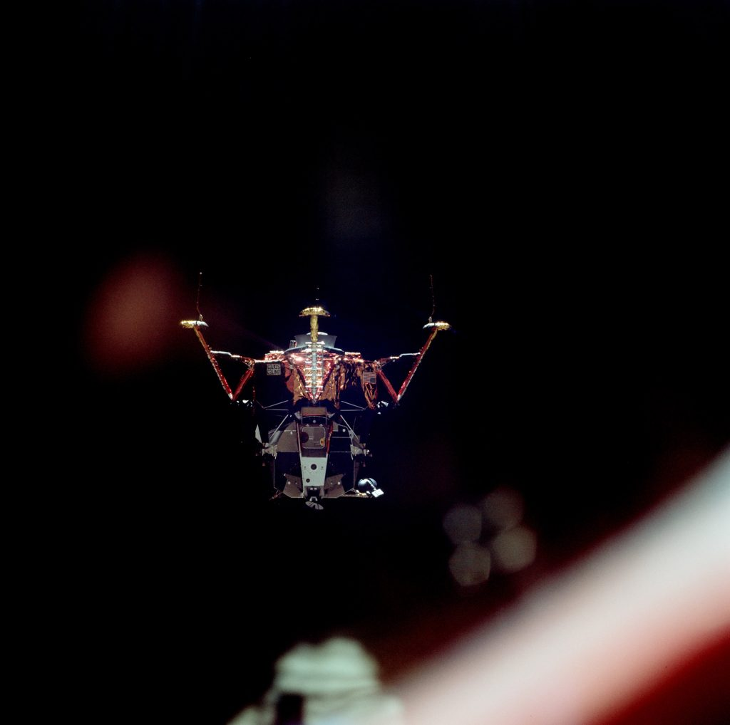 View of the Lunar Module as witnessed from the Command Module shortly before the LM's descent to lunar surface.