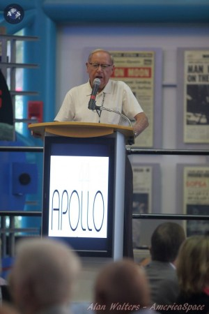 Jack King speaks about the Apollo program to a group at the Saturn V Center located at Kennedy Space Center in Florida.  Credit: Alan Walters