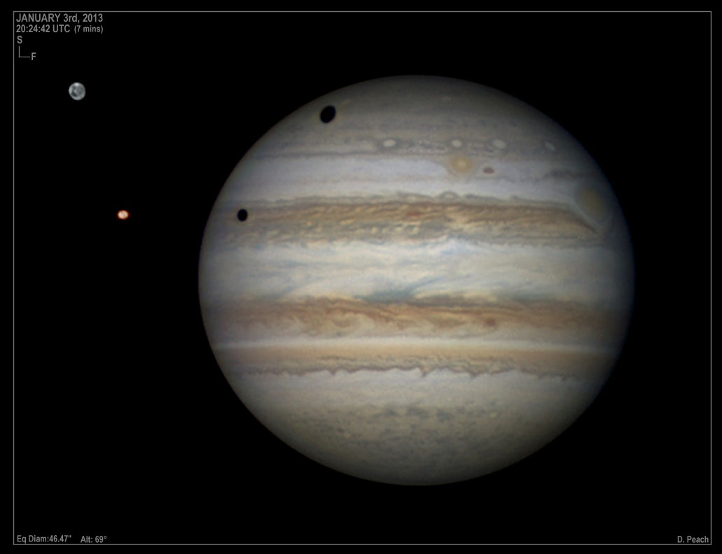 High resolution image of Jupiter taken with a Professional CCD camera.   Credit Damian Peach (www.damianpeach.com)