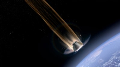 Artist's rendering of the Orion capsule during its fiery ballistic reentry. Credit: NASA