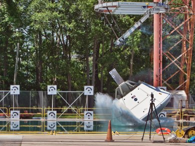 An Orion test article is used to conduct vertical drop tests into water at NASA's Langley Research Center. Credit: NASA